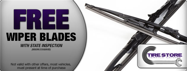 or make mention at the counter for free wiper blades with state inspection