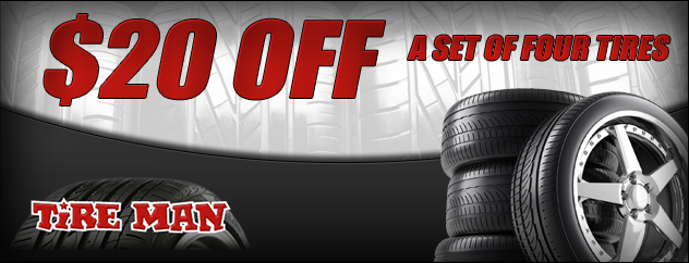$20 off a set of four tires