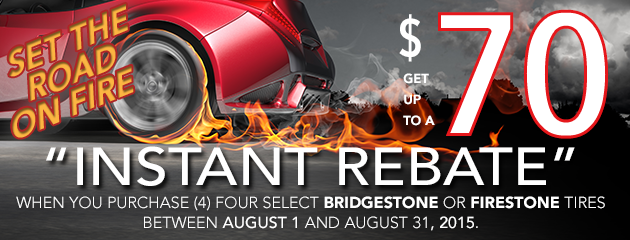 Get up to $70 back on select Bridgestone and Firestone Tires!