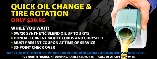 $29.95 Quick Syn Blend Oil Change and Rotation