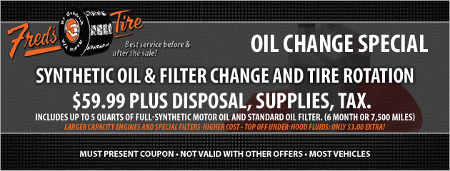 $59.99 Synthetic Oil, Filter Change and Tire Rotation Special