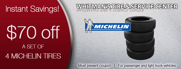 $70 off a 4 new Michelin Tires