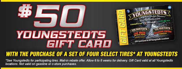 Youngstedts $50 Gift Card with 4 Tire Purchase