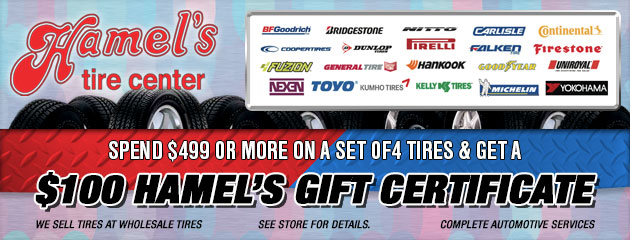 Spend $499 or more on a set of 4 Tires and get a $100 Gift Card!