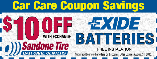 $10 Off Exide Batteries in August