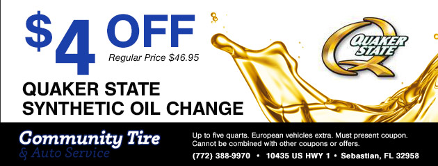 $4 Off Quaker State Synthetic Oil Change