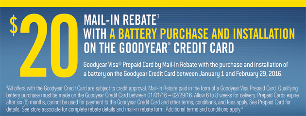 Goodyear TSN $20 Mail-In Rebate with Battery Installation