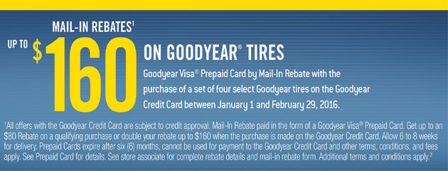 Goodyear TSN Up to $160 Mail-In Rebate with Select Tire Purchase