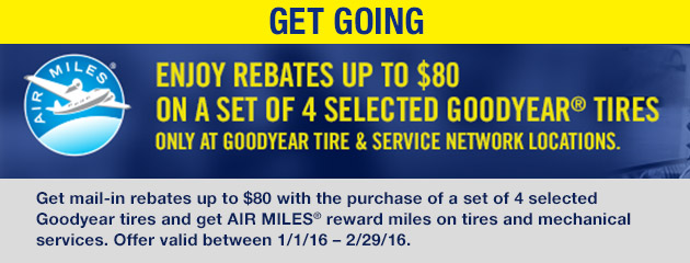 Goodyear TSN Up to $80 Mail-In Rebate with Select Tire Purchase - CA