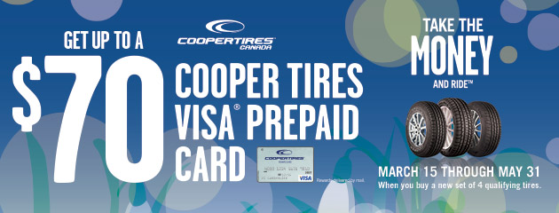 Cooper Spring Promo get up to $70 Prepaid Visa Card with Select Tires