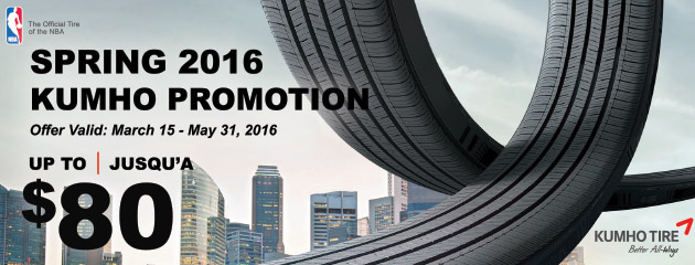 Kumho Spring 2016 Up to $80 Rebate on Select Tires