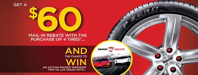 Pirelli $60 Rebate and a Chance to Win a Trip to Vegas with 4 Select Tires