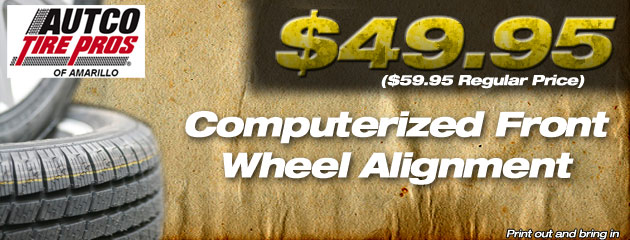 $49.95 Computerized Front Wheel Alignment