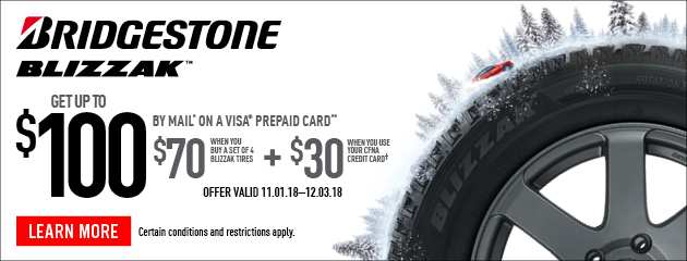 Bridgestone - Up to $100 Visa Prepaid Card