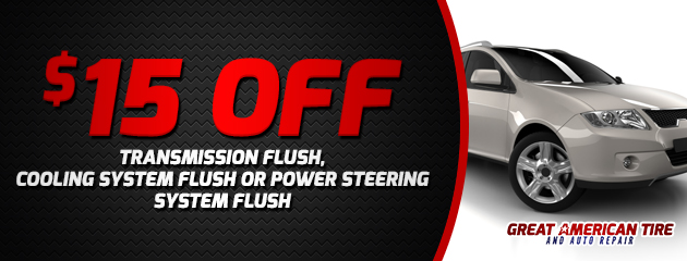 $15 off transmission, cooling system or power steering system flush