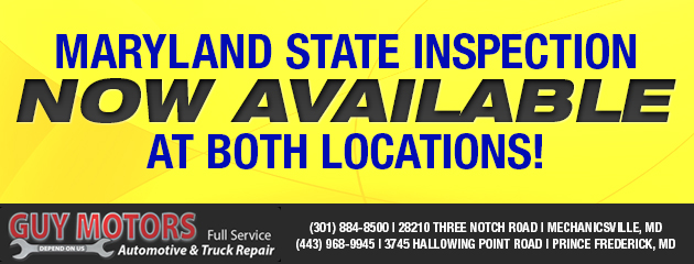 Maryland State Inspection Now Available!
