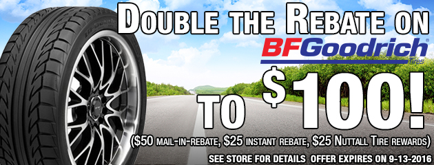 Double the Rebate on 4 BFGoodrich tires to $100!