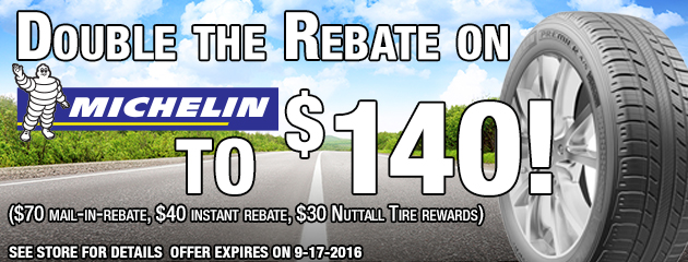 Double the Rebate on 4 Michelin tires to $140
