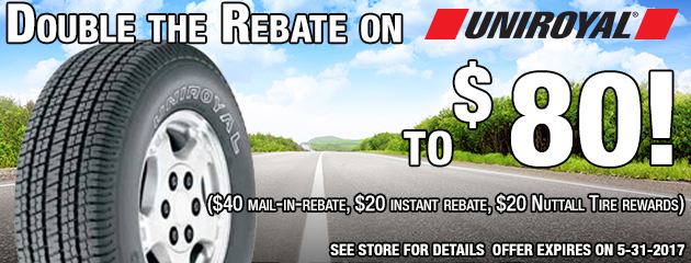 Double the Rebate on 4 Uniroyal tires to $80!