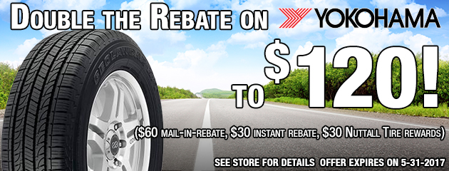 Double the Rebate on 4 Yokohama tires to $120!
