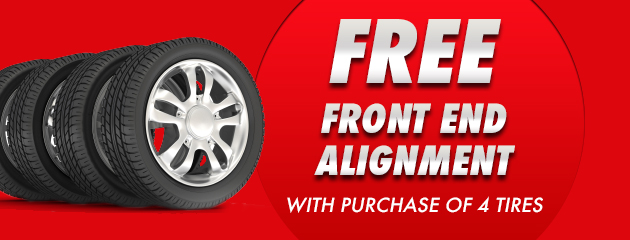 Free Front end Alignment With Purchase of 4 Tires