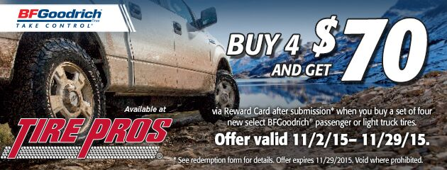 BFGoodrich Tire Pros Buy 4 and Get $70 Rebate