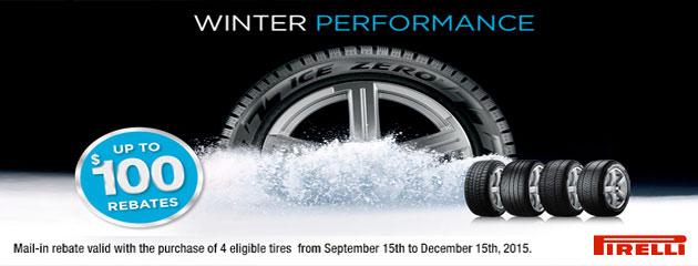 Pirelli up to $100 Winter Performance Rebate