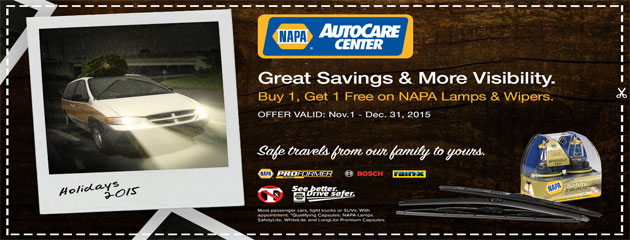 Napa Autocare Centers Buy 1 Get 1 Free on lamps and wipers