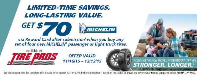 Michelin Tire Pros Winter $70 Rebate