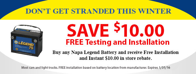 Napa Battery Special - Save $10 Free Testing and Installation