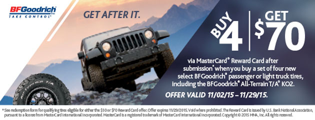 BFGoodrich Buy 4 and Get $70 Rebate