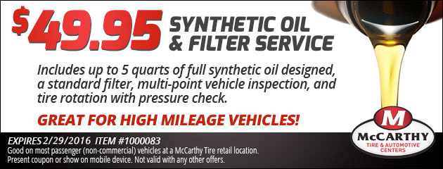 $49.95 Synthetic Oil and FIlter Service
