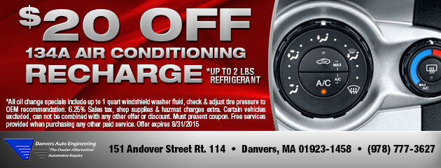 $20 off 134a Air Conditioning Recharge