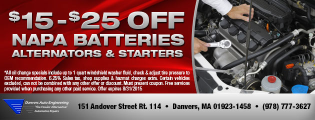 Save $15-$25 Off Napa Batteries, Alternators and Starters