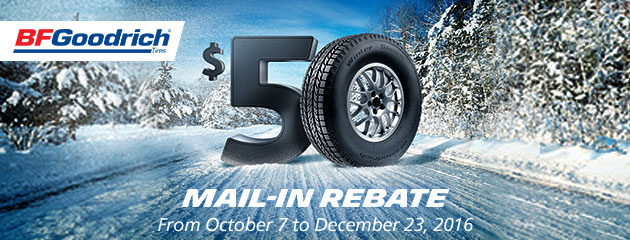 BFGoodrich Buy a set 4 new tires get a $50 Mail-In Rebate