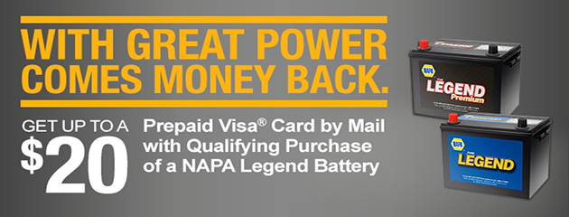 Up to $20 Rebate with Napa Battery Purchase