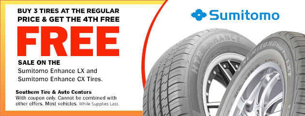 Buy 3 tires at regular price, get 4th tire FREE sale on the select Sumitomo Tires