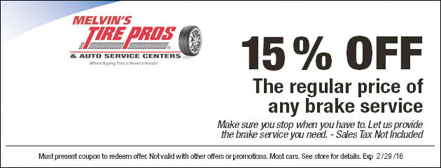 15% off the regular price of any brake service