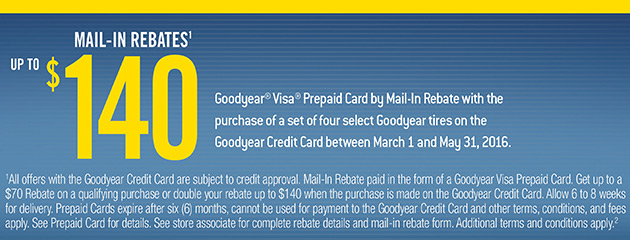 Goodyear Up to $140 Mail-in Rebate