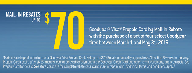 Goodyear Up to $70 Mail-in Rebate
