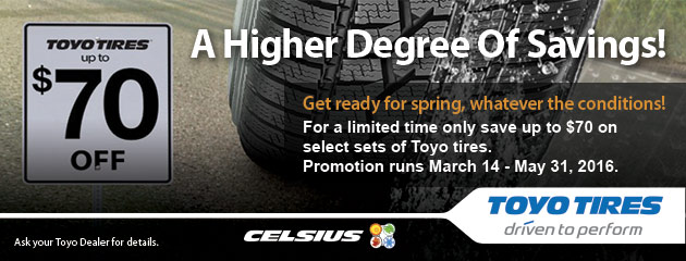 Toyo Sping 2016 Rebate - Up to $70 Off Select Tires