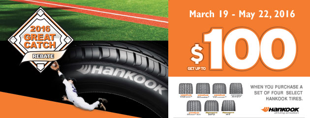 Hankook 2016 Great Catch Rebate of Up to $100