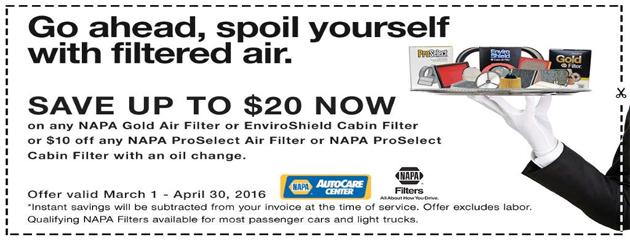 Napa Autocare Save up to $20 on Napa Gold Air Filter