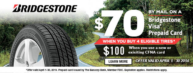 Bridgestone Get up to $70 Visa Prepaid Card on purchase of 4 Select Tires