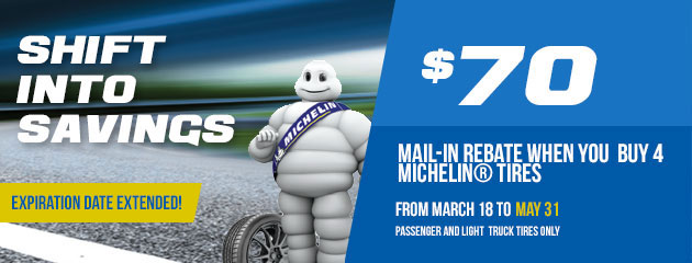 Michelin Shift into Savings $70 Rebate