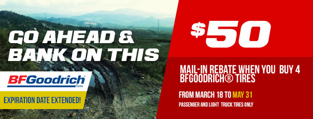 BFGoodrich Go Ahead and Bank On This $50 Mail-in Rebate