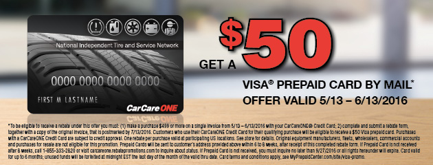 Car Care One Get a $50 Prepaid Visa