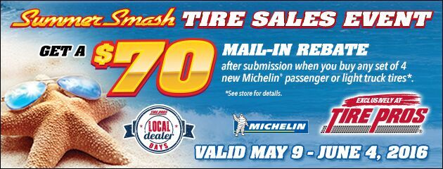 Tire Pros Michelin Summer Smash $70 or $120 Visa Prepaid Card