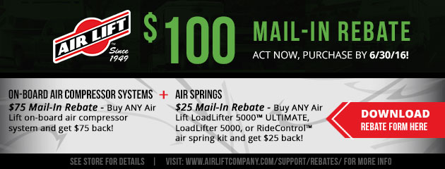 Air Lift $100 Rebate