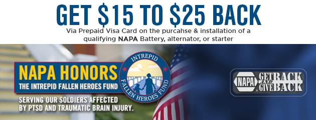 NAPA Honors Get $15 to $25 Back